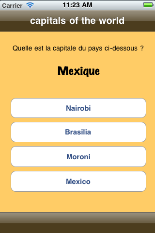 Screenshot nQuiz – capitals of the world